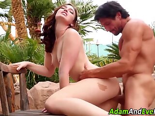 Babes make love outdoors