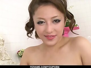 Sexy porn scenes in the bathroom with naked Meisa Hanai