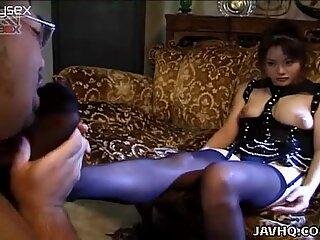 Amateur video of Akane Kuramochi stroking dick with her feet