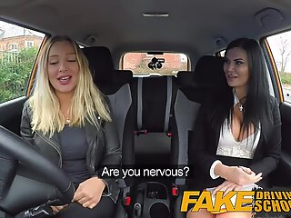 Fake Driving School lesbian sex with hot Australian babe and busty milf