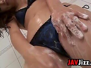 Japanese Girl Washes In A Bikini