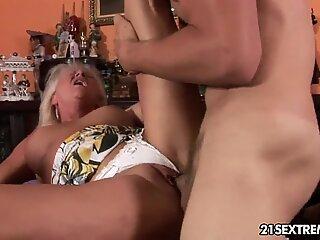 Badass Grandma Anett fucked hard by young dude