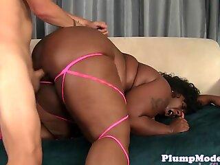 Ebony bbw banged in cowgirl position