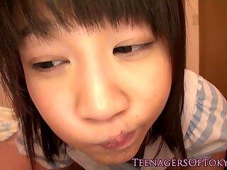 Japanese schoolgirl fingered before blowjob