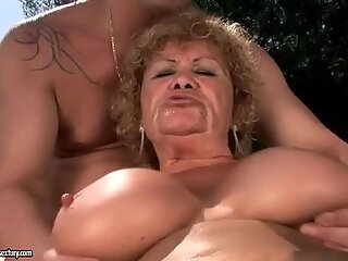 Ugly old bitch getting fucked rough outdoor
